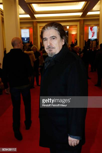 Singer Serge Lama attends Nana Mouskouri Forever Young Tour 2018 at Salle Pleyel on March 8 2018 in Paris France