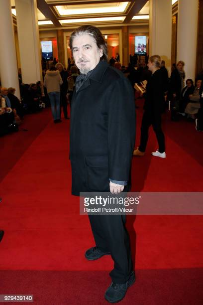 """Singer Serge Lama attends """"Nana Mouskouri Forever Young Tour 2018"""" at Salle Pleyel on March 8, 2018 in Paris, France."""