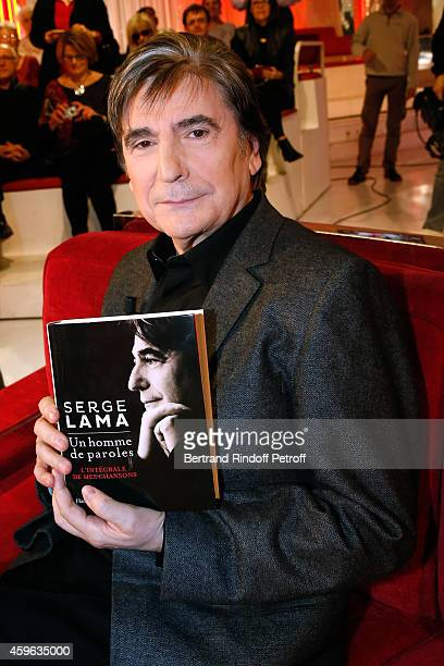 Singer Serge Lama presents his book Un homme de paroles L'integrale de mes chansons during the 'Vivement Dimanche' French TV Show at Pavillon Gabriel...