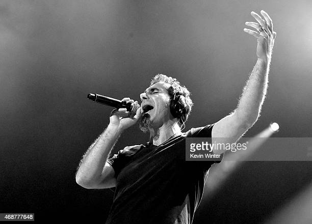 Singer Serj Tankian of System of a Down performs at The Forum on April 6 2015 in Inglewood California