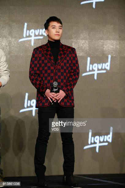 Singer SeungRi of Big Bang attends a news conference after Chinese internet giant Tencent and Sony Music Entertainment signing distribution...