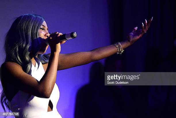 Singer Sevyn Streeter of TG4 and RichGirl performs on stage at The Attic on February 4 2015 in Hollywood California