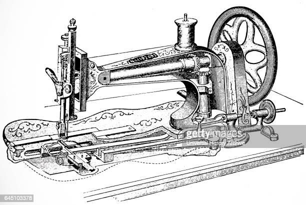 Singer sewing machine which made a lock-stitched by means of a needle and a reciprocating shuttle. London, dated 1880.