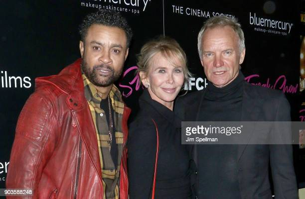 Singer Shaggy director Trudie Styler and singer/songwriter Sting attend the premiere of IFC Films' 'Freak Show' hosted by The Cinema Society and...