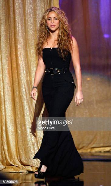 Singer Shakira accepts the Discretionary Humanitarian award onstage during the 2008 ALMA Awards at the Pasadena Civic Auditorium on August 17 2008 in...
