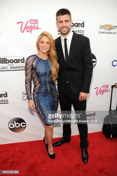 Singer Shakira and soccer player Gerard Pique attend the 2014 Billboard Music Awards at the MGM Grand Garden Arena on May 18 2014 in Las Vegas Nevada