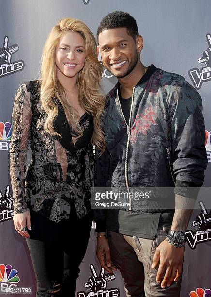 Singer Shakira and Usher arrive at NBC's 'The Voice' red carpet event at The Sayers Club on April 3 2014 in Hollywood California