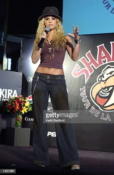 Singer Shakira announces her world tour titled the Tour of the Mongoose at a news conference September 25 2002 in New York City The tour will begin...
