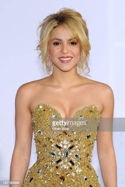 Singer Shakira arrives at the 12th annual Latin GRAMMY Awards at the Mandalay Bay Resort Casino on November 10 2011 in Las Vegas Nevada