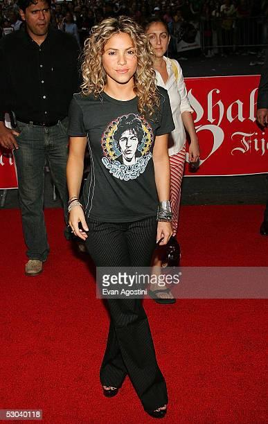 Singer Shakira arrives at Virgin Megastore Times Square to promote her new CD Fijacion Oral on June 8 2005 in New York City
