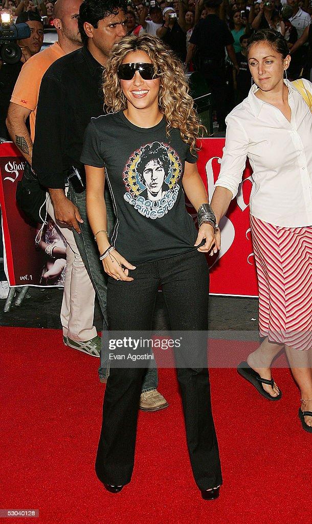 Singer Shakira arrives at Virgin Megastore Times Square to promote her new CD 'Fijacion Oral' on June 8, 2005 in New York City.
