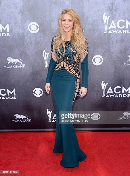 Singer Shakira attends the 49th Annual Academy Of Country Music Awards at the MGM Grand Garden Arena on April 6 2014 in Las Vegas Nevada