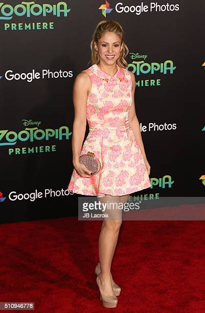 Singer Shakira attends the premiere of Walt Disney Animation Studios' 'Zootopia' held at the El Capitan Theatre on February 17 2016 in Hollywood...