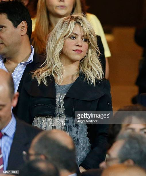 Singer Shakira looks on prior to the Copa del Rey Final match between Athletic Bilbao and Barcelona at Vicente Calderon Stadium on May 25, 2012 in...