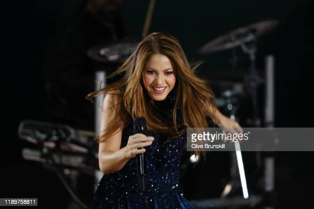 Singer Shakira performs ahead of the singles final match between Felix Auger-Aliassime of Canada and Roberto Bautista Agut of Spain during Day Seven...