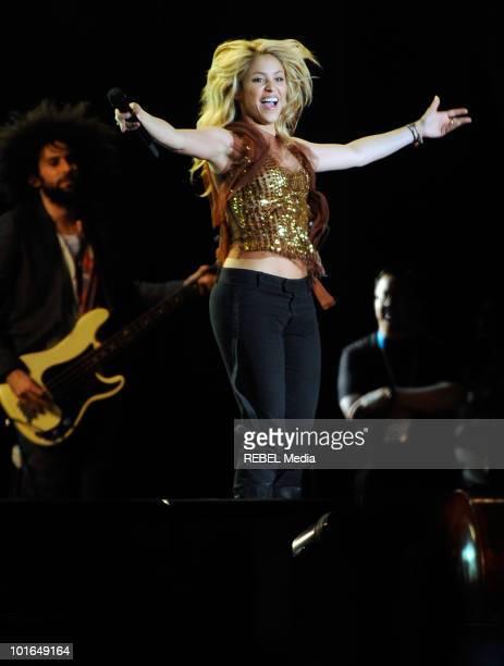 Singer Shakira performs at the 'Rock in Rio Madrid' music festival on June 5 2010 in Arganda del Rey Spain