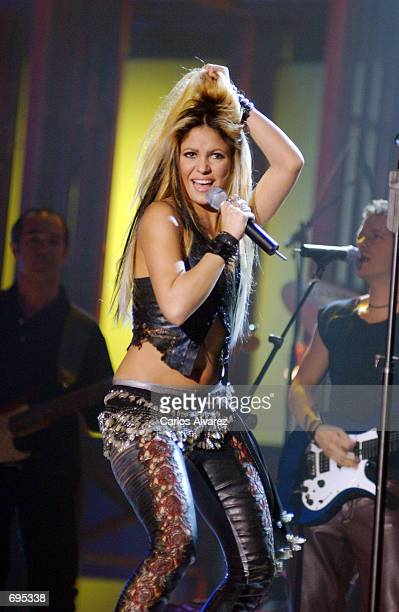 Singer Shakira performs during a television show event called 'Operacion Triunfo' a show where young people compete to become a music star January 28...