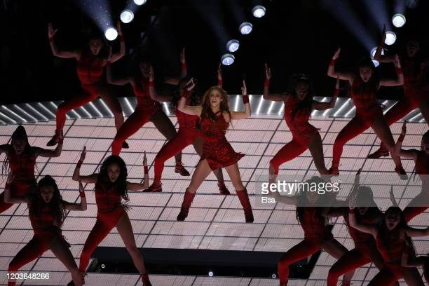 Singer Shakira performs during the Pepsi Super Bowl LIV Halftime Show at Hard Rock Stadium on February 02 2020 in Miami Florida