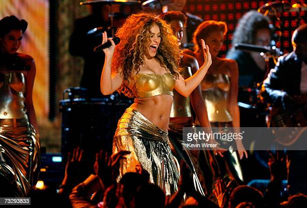 Singer Shakira performs Hips Don't Lie onstage at the 49th Annual Grammy Awards at the Staples Center on February 11 2007 in Los Angeles California