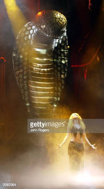 Singer Shakira performs in front of a giant cobra on the European leg of her Tour of the Mongoose at Cologne Arena Cologne Germany on December 12 2002
