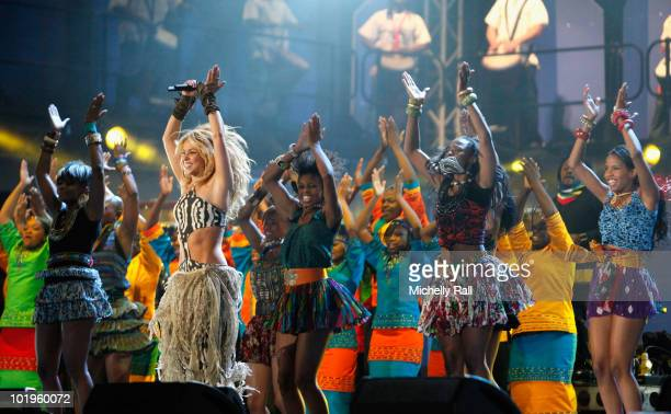 Singer Shakira performs on stage during the FIFA World Cup Kickoff Celebration Concert at the Orlando Stadium on June 10 2010 in Johannesburg South...
