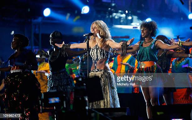 Singer Shakira performs on stage during the FIFA World Cup Kick-off Celebration Concert at the Orlando Stadium on June 10, 2010 in Johannesburg,...
