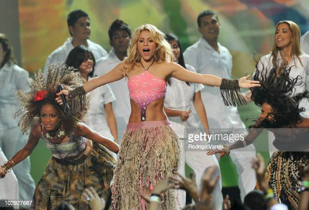 Singer Shakira performs onstage at the Univision Premios Juventud Awards at BankUnited Center on July 15 2010 in Miami Florida