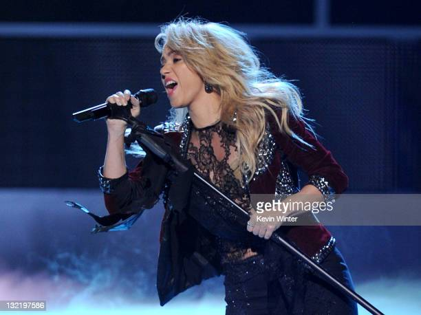 Singer Shakira performs onstage during the 12th annual Latin GRAMMY Awards at the Mandalay Bay Events Center on November 10 2011 in Las Vegas Nevada