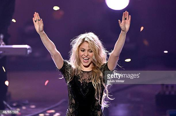 Singer Shakira performs onstage during the 2014 iHeartRadio Music Awards held at The Shrine Auditorium on May 1 2014 in Los Angeles California...