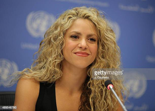 Singer Shakira speaks during a press conference following the Meeting Of The Minds Investing In Early Childhood Development As The Foundation For...
