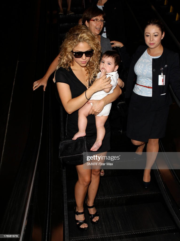 Singer Shakira with her son Milan Mebarak as seen on August 15, 2013 in Los Angeles, California.