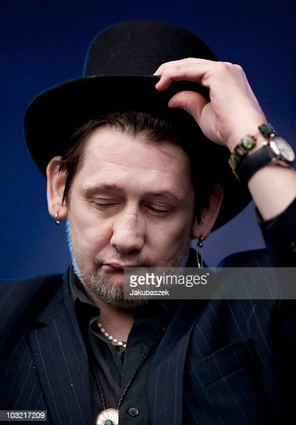 Singer Shane MacGowan of the English/ Irish Folk band The Pogues performs live during a concert at the Zitadelle on August 3 2010 in Berlin Germany