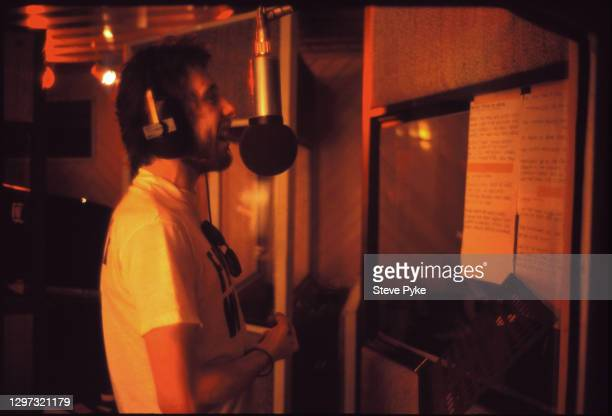 Singer Shane MacGowan, of The Pogues during a recording session at RAK Studios in St John's Wood, London, 1989.