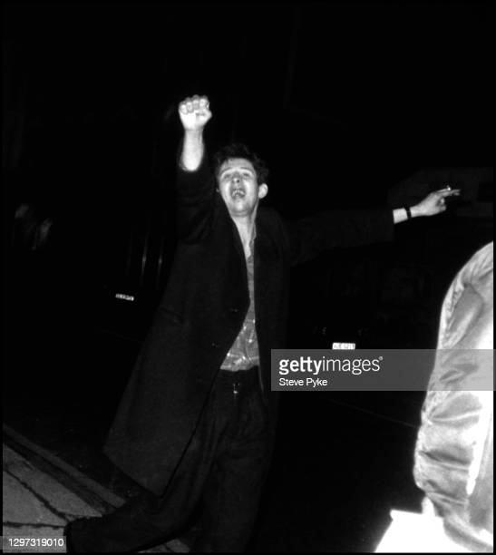 Singer Shane MacGowan of the The Pogues on a night out in Kilburn London, 1984.