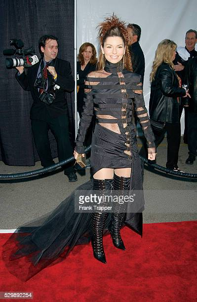 Singer Shania Twain arrives at the 2003 American Music Awards This photo appears on page 342 in Frank Trapper's RED CARPET book