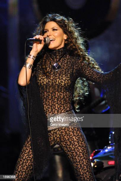 Singer Shania Twain attends the 36th Annual CMA Awards at the Grand Ole Opry House on November 6 2002 in Nashville Tennessee