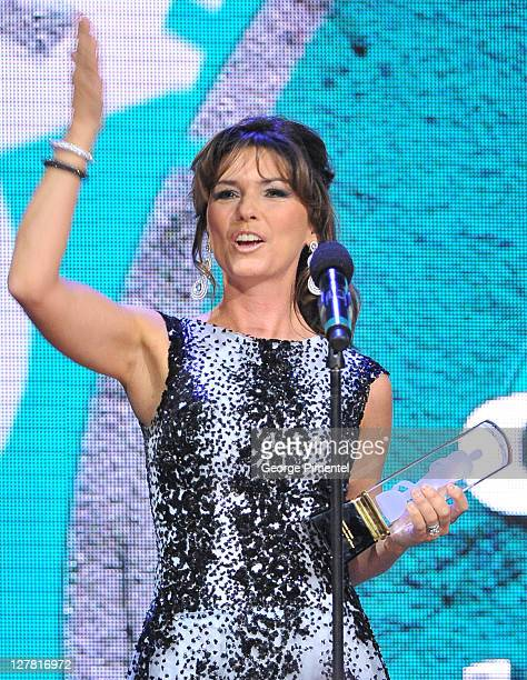 Singer Shania Twain on stage at the 2011 Juno Awards at the Air Canada Centre on March 27 2011 in Toronto Canada