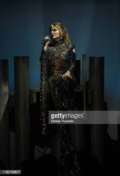 Singer Shania Twain performs during her Let's Go The Las Vegas Residency launch at Zappos Theater at Planet Hollywood Resort Casino on December 06...