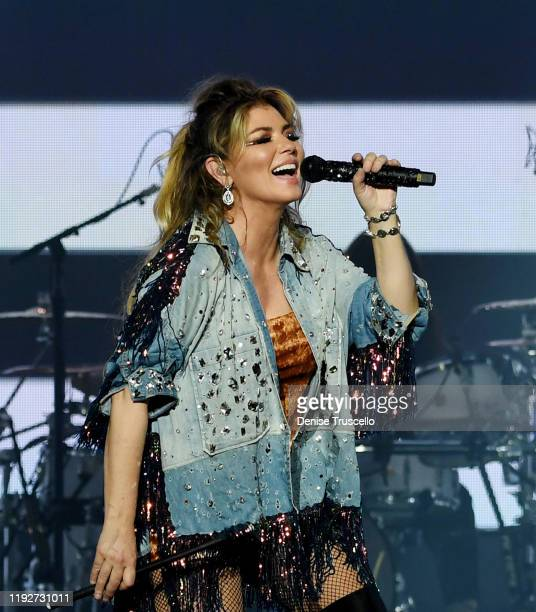 Singer Shania Twain performs during her Let's Go The Las Vegas Residency launch at Zappos Theater at Zappos Theater at Planet Hollywood Resort Casino...