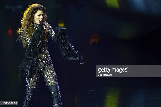 Singer Shania Twain performs during the debut of her residency show Shania Still the One at The Colosseum at Caesars Palace on December 1 2012 in Las...