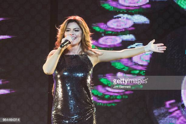 Singer Shania Twain performs live on stage at the opening show of her Now Tour at Tacoma Dome on May 3 2018 in Tacoma Washington