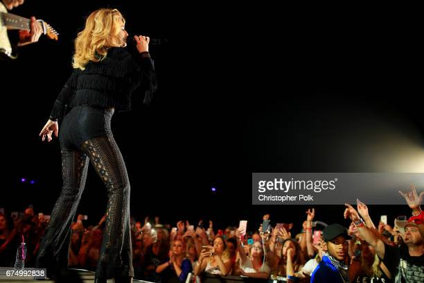 Singer Shania Twain performs on the Toyota Mane Stage during day 2 of 2017 Stagecoach California's Country Music Festival at the Empire Polo Club on...