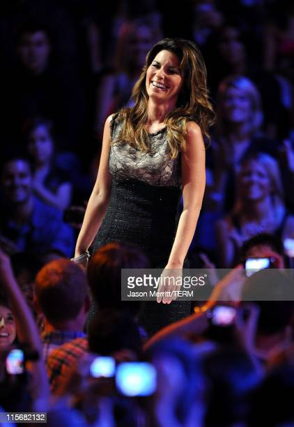 Singer Shania Twain speaks on stage at the 2011 CMT Music Awards at the Bridgestone Arena on June 8 2011 in Nashville Tennessee