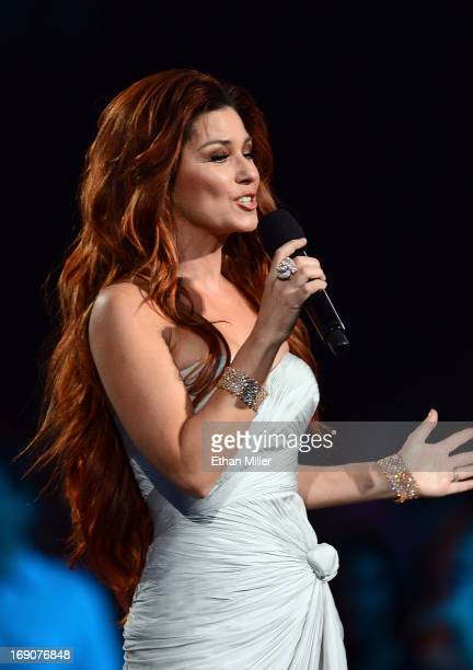 Singer Shania Twain speaks onstage during the 2013 Billboard Music Awards at the MGM Grand Garden Arena on May 19 2013 in Las Vegas Nevada