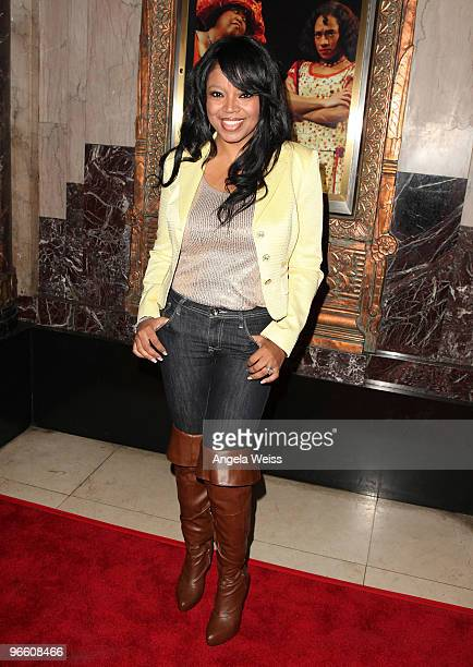 Singer Shanice attends the opening night of 'The Color Purple' at the Pantages Theatre on February 11 2010 in Hollywood California