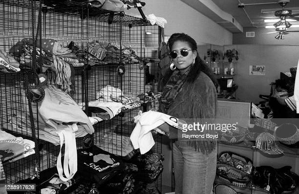 Singer Sharon Bryant, formerly of Atlantic Starr poses for photos at Amazons in Chicago, Illinois in September 1989.