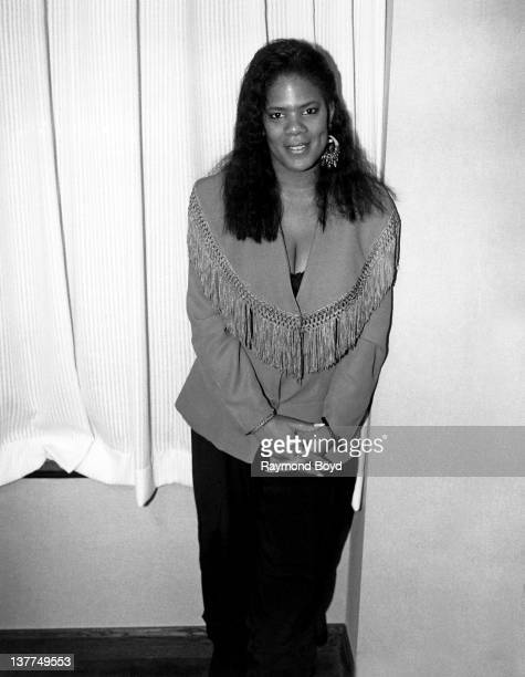 Singer Sharon Bryant, formerly of Atlantic Starr poses for photos at the Hyatt Hotel in Chicago, Illinois in 1989.