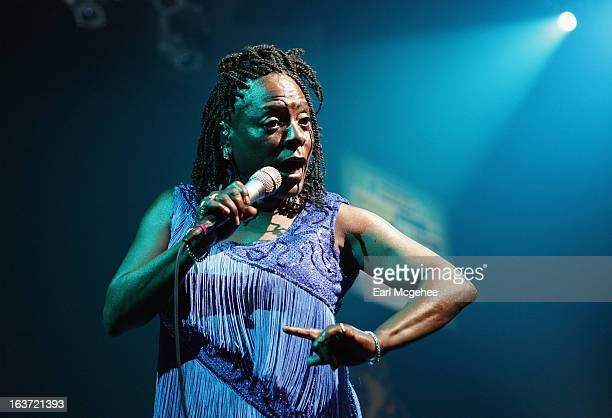 Singer Sharon Jones and The Dap Kings performs onstage at the Daptone Music Showcase during the 2013 SXSW Music, Film + Interactive Festival at ACL...