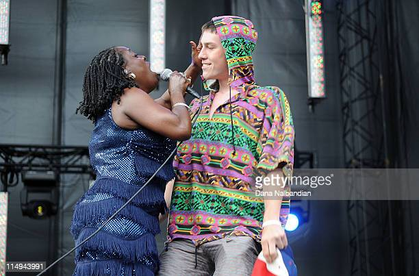 Singer Sharon Jones of Sharon Jones & The Dap-Kings sings to an audience member at Sasquatch Festival day 4 at The Gorge on May 30, 2011 in George,...