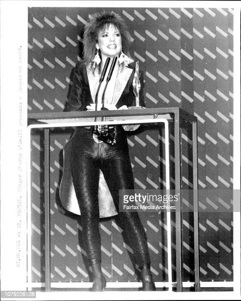 Singer Sharon O'Neill presents a Countdown awardCountdown Music and Video Awards at the Entertainment centre May 19 1985